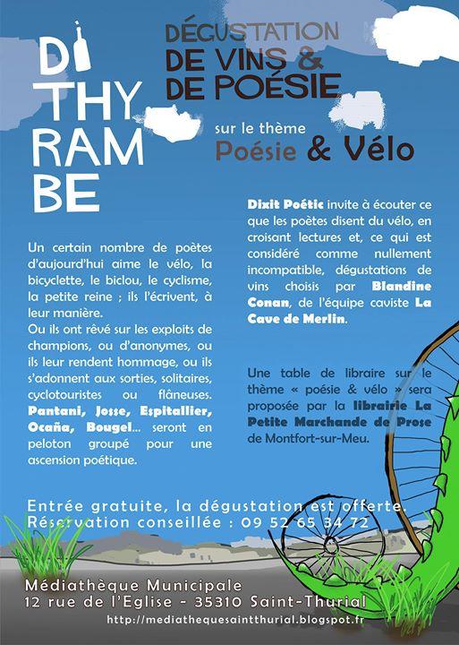 Vendredi 25 novembre 2016 : Soirée Dithyrambe vin & poésie sur le thème du…