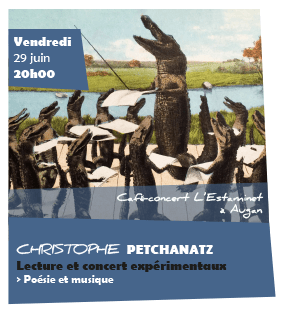 Au troisième jour du festival, une lecture-concert bien particulière de Christophe Petchanatz, une idée…