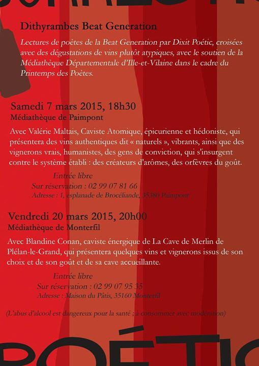 C'est demain soir, seconde soirée Dithyrambes à la médiathèque de Monterfil pour notre Poétic…
