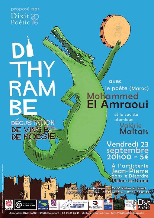 Vendredi 23 septembre, à 20h : Soirée Dithyrambe vins et poésie avec le poète…