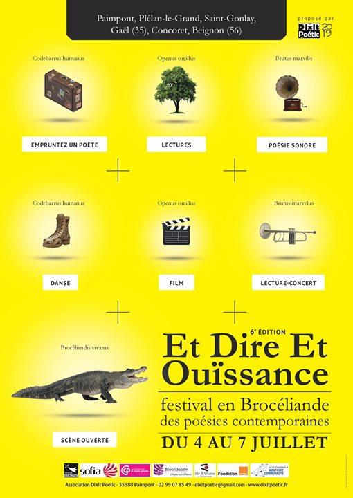 Le festival en Brocéliande de Dixit Poétic, Et Dire Et Ouïssance, l'affiche